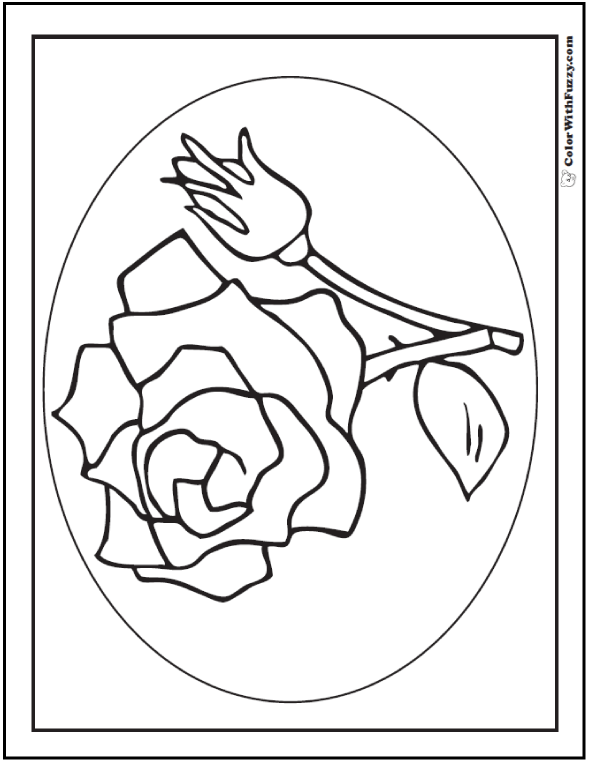 coloring pages rose and bud - Rose Coloring Pages