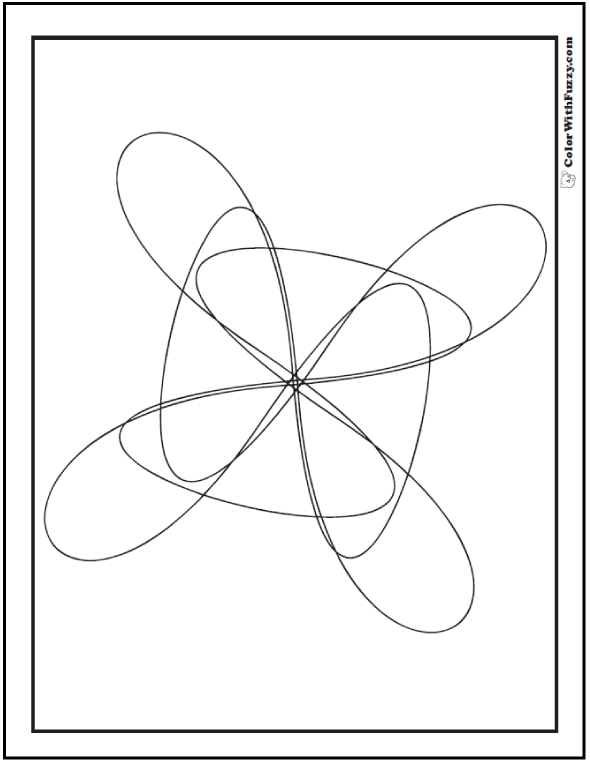 Coloring Pages Simple Geometric Designs: Fan, propeller, electrons.