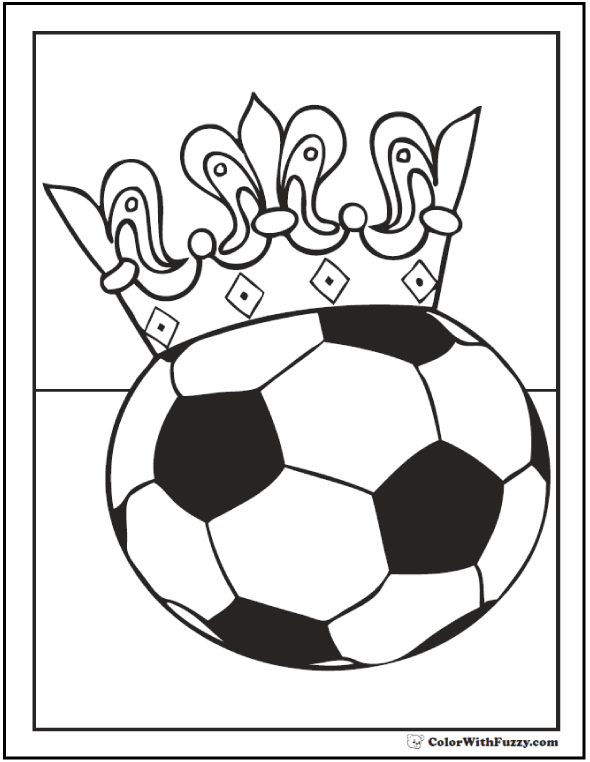 Girl's Crown Soccer Coloring PDF