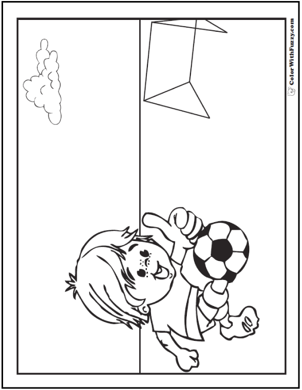 Cute Soccer Player Coloring Picture