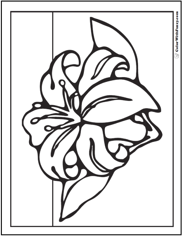 Spring flowers coloring page 28 customizable printables lily coloring pages spring flowers mightylinksfo