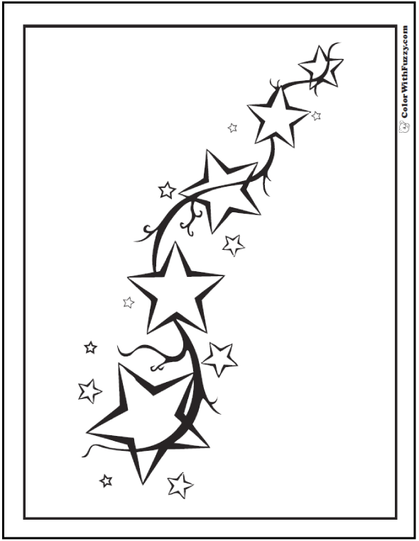 star and vine coloring theme - Shooting Star Coloring Page