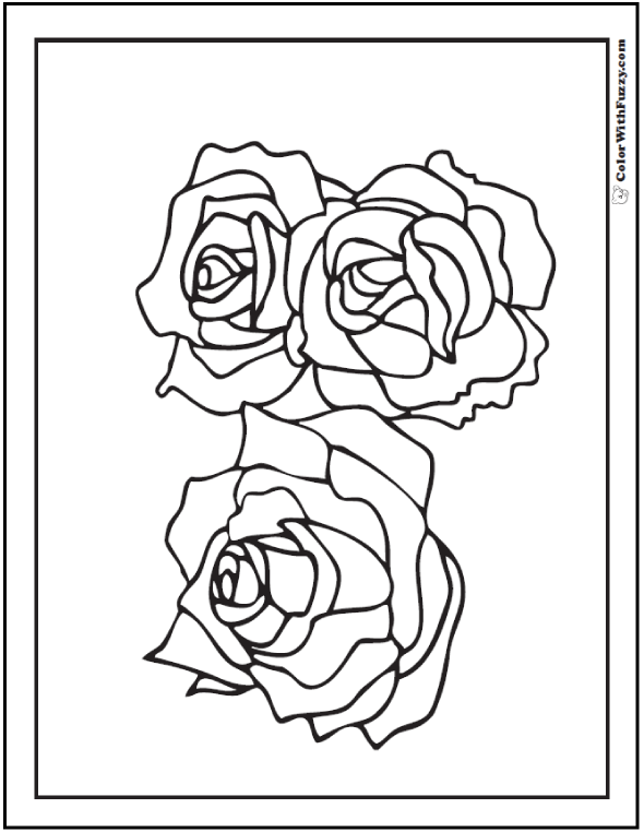 Coloring Pages Three Roses