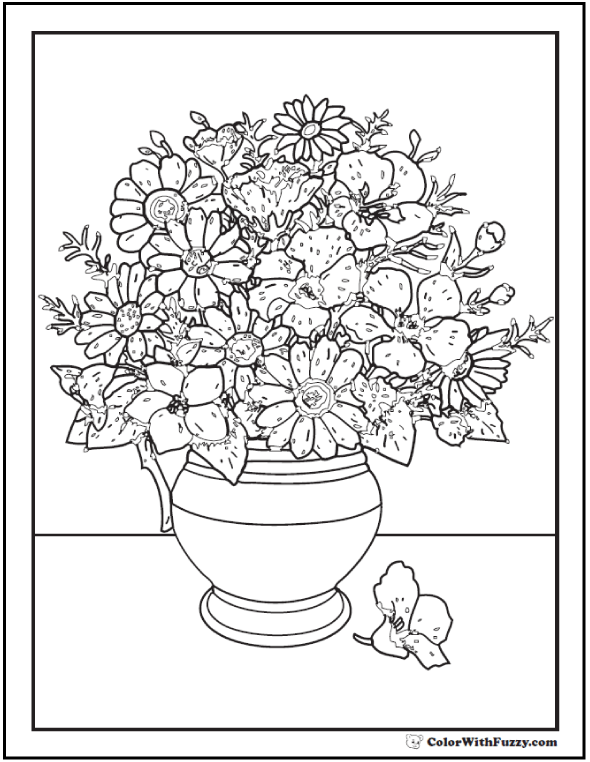 vases with flowers coloring pages-#7