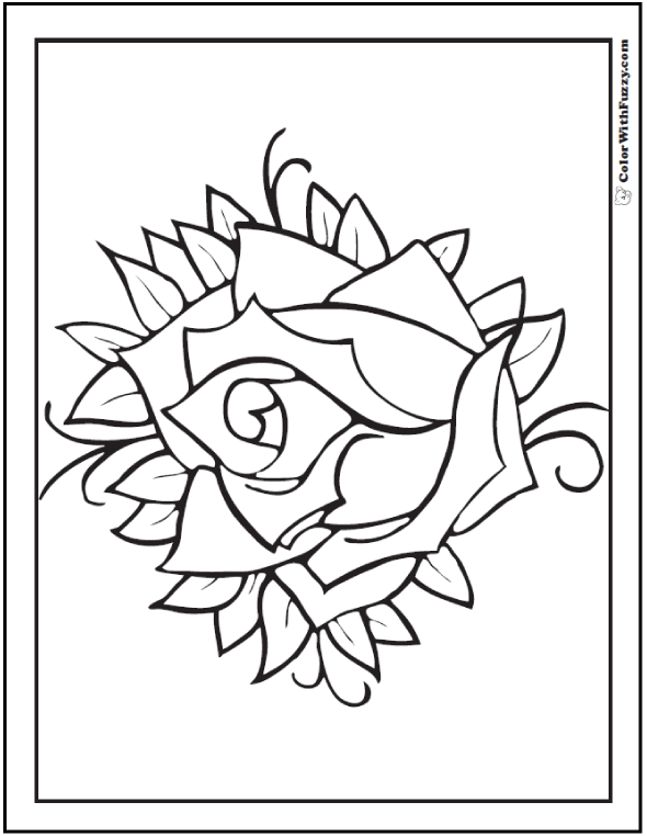 Coloring Picture Sweet Rose Swirl