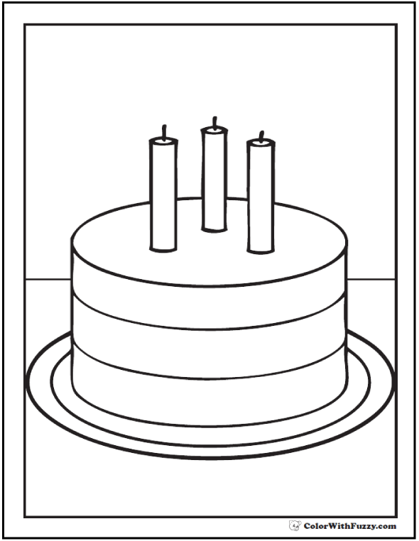 Third Birthday - Coloring Pictures Of Birthday Cakes