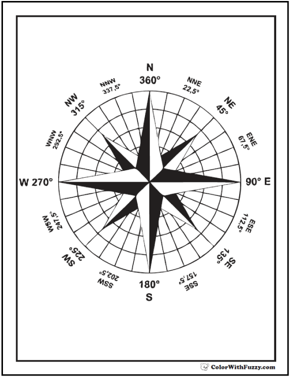 Compass Circle Star Coloring Sheet