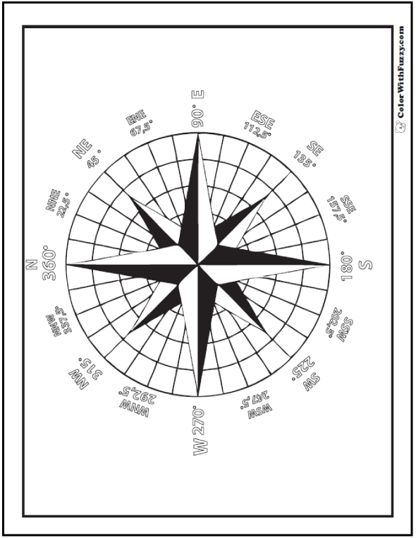 Compass Star Geometric Design: Math, science, history, geography worksheet to color. Shows degrees and directions.