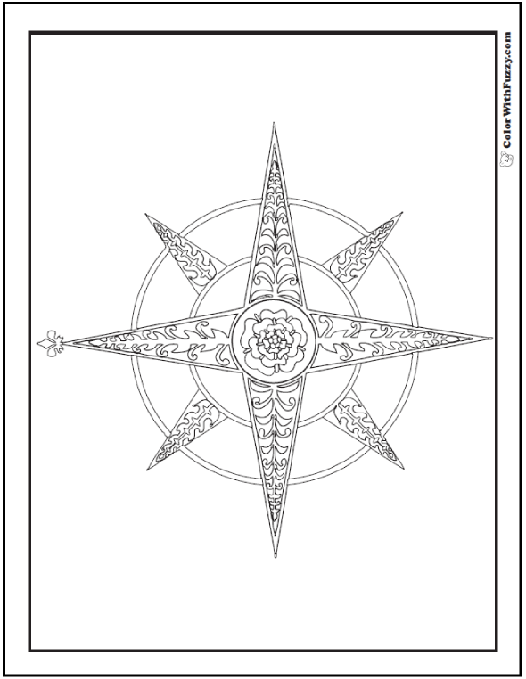 Fleur de Lys Compass Rose Coloring Sheet