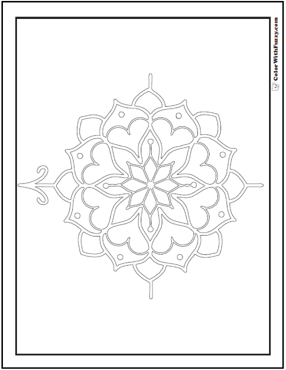 Hearts in Compass Rose Coloring