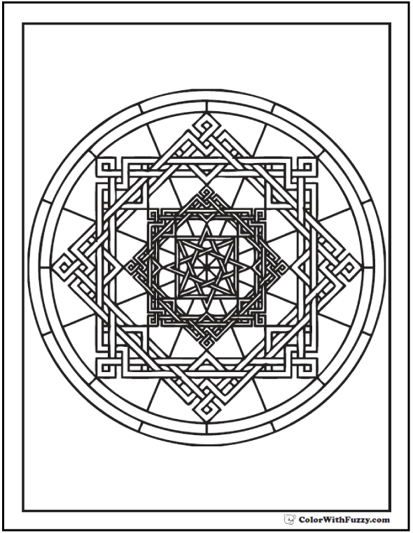 Complex Geometric Coloring Pages: Oriental square and circle design.