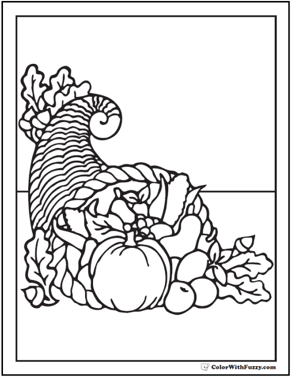 Cornucopia Coloring Page: Beautiful Fall Bounty