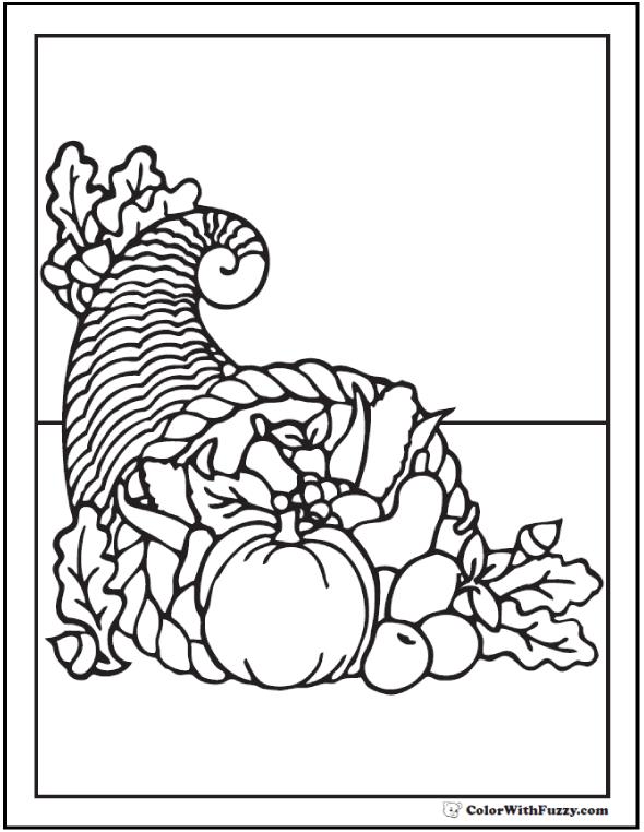 Cornucopia Coloring Page: Fall Harvest Bounty