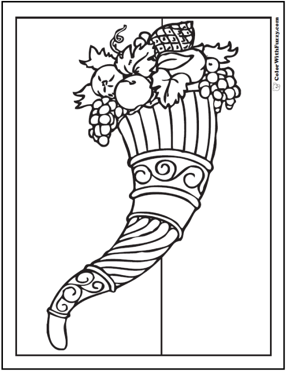 Ornate Cornucopia Coloring