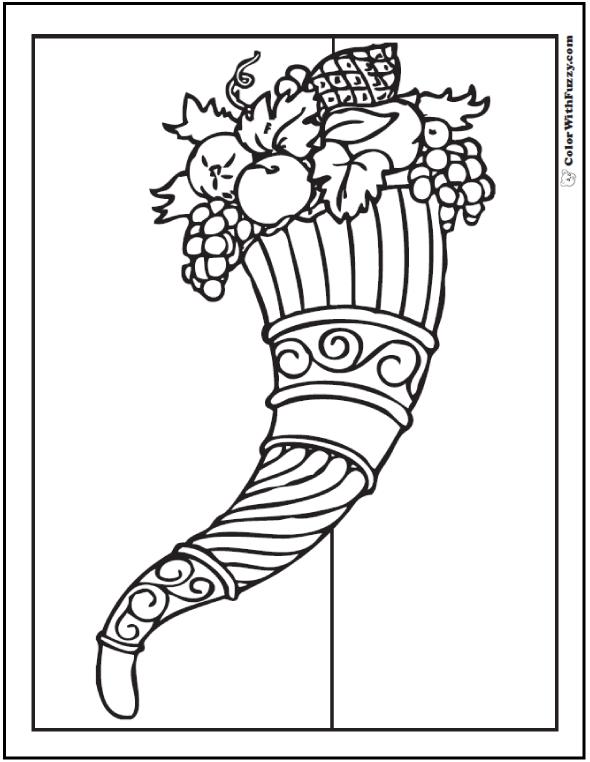 Ornate Cornucopia Coloring