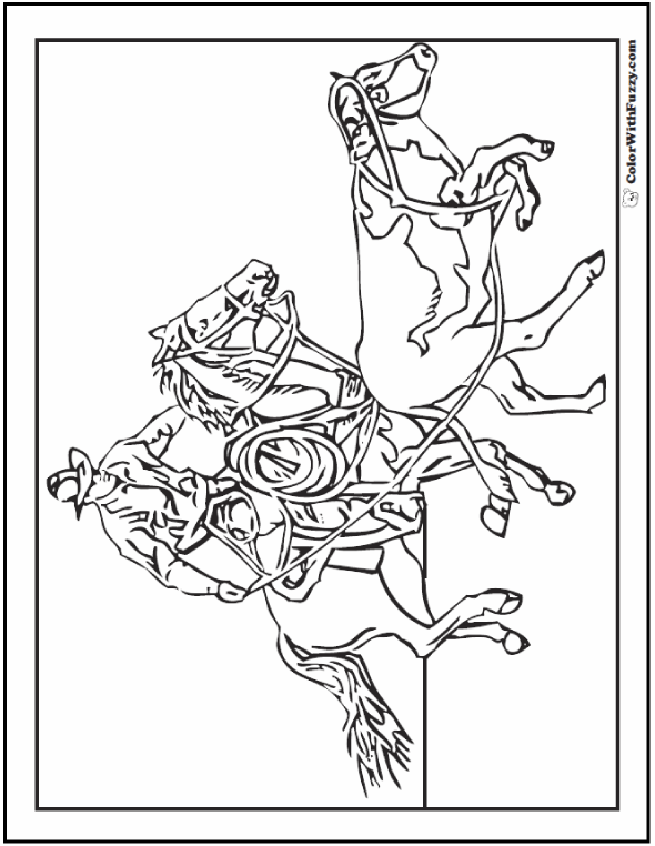 Cowboy Horse Coloring Page: Rider Roping Steer