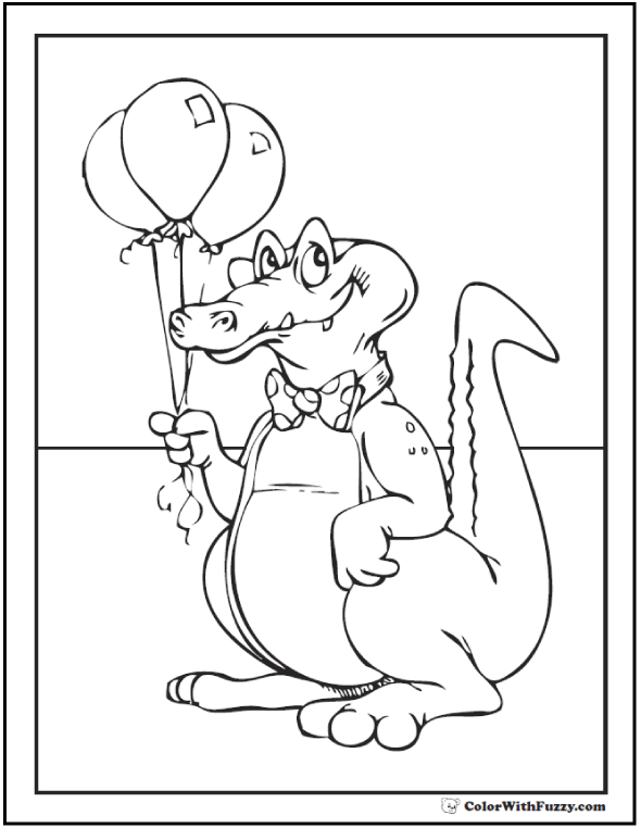 Birthday balloons crocodile coloring page.