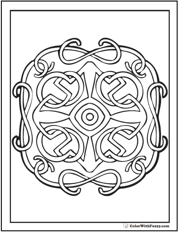 ColorWithFuzzy.com Celtic Designs:  Cross Or Celtic Theme Design