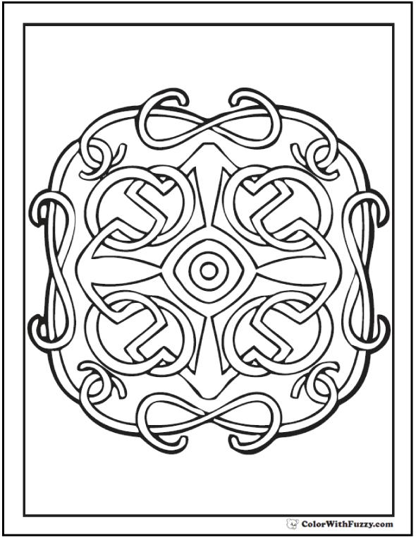 ColorWithFuzzy.com Celtic Designs:  Cross Or Celtic Theme Design