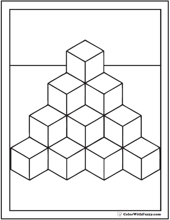 Shape Coloring Pages on Triangle Shape Coloring Page