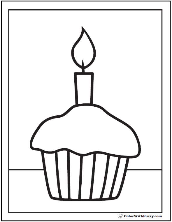 cupcake and candle pdf coloring page