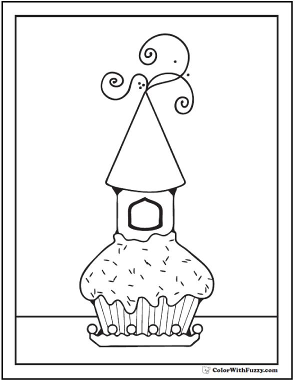 Cupcake Birdhouse Coloring