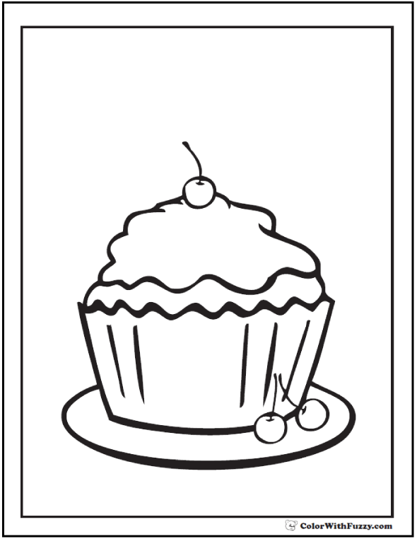 Cupcake Coloring Page Cherries
