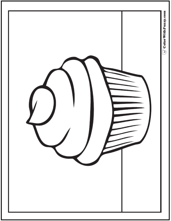 Plain Cupcake Coloring Picture