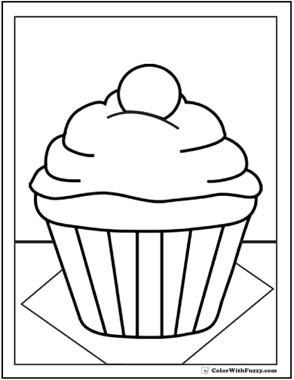 Cream Cupcake PDF to Color