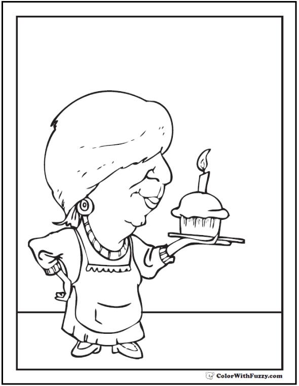 Cupcake for Grandma Coloring Page