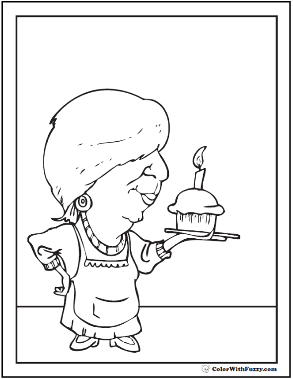 Cupcake for Grandma Coloring Page