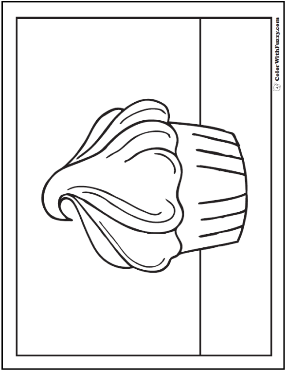 Cupcake Frosting Coloring Picture
