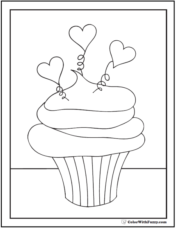 Hearts and Springs Cupcake Swirls Coloring Sheet