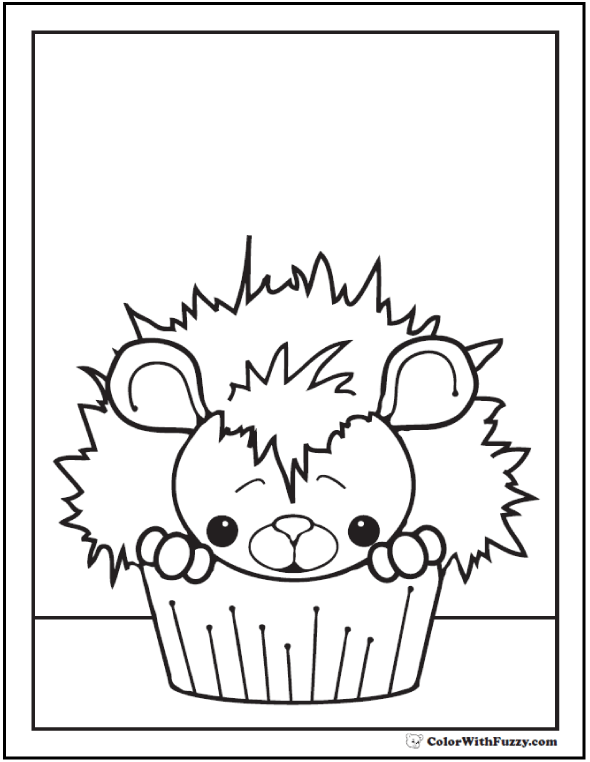Cupcake Mouse to Color