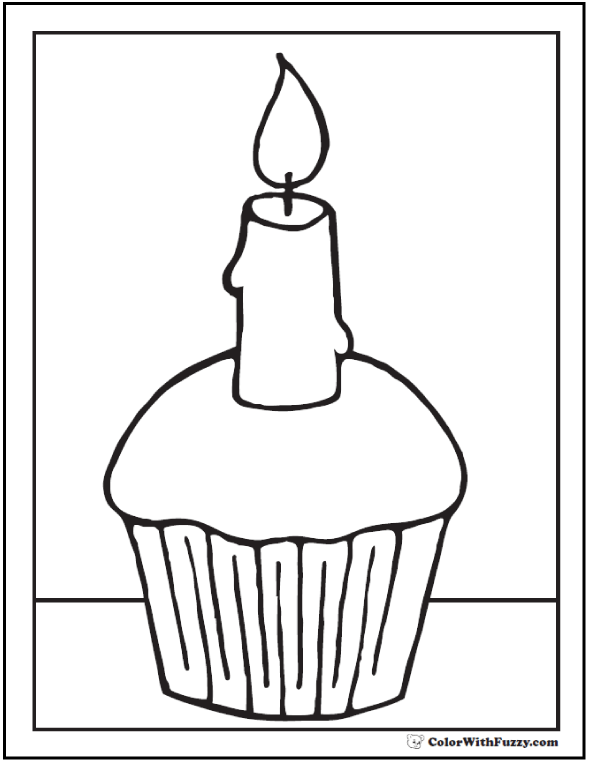 One Candle Cupcake Printable