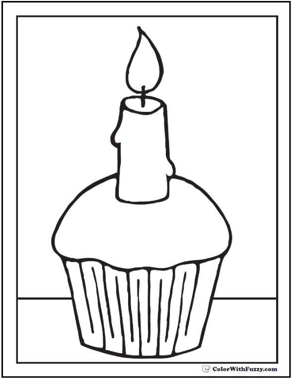 One Candle Cupcake Printable