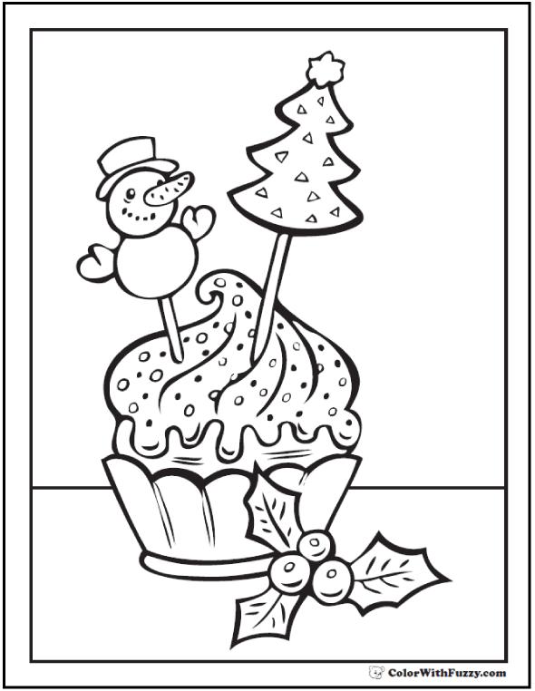 Snowman Cupcake Coloring Sheet
