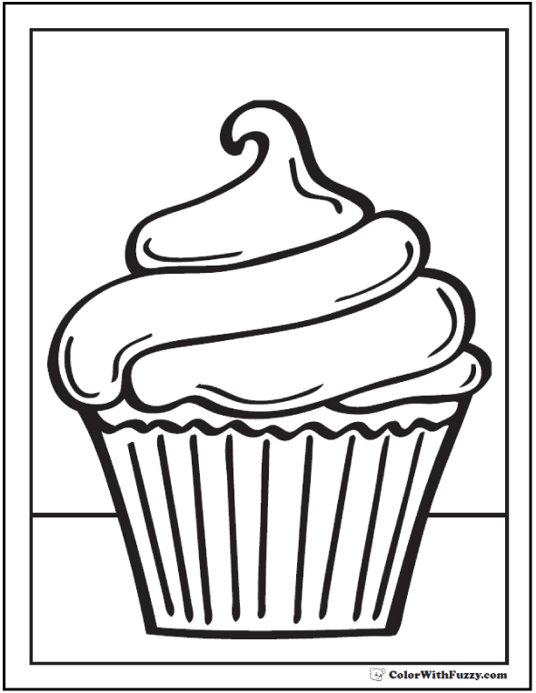 Swirled Cupcake Coloring Page