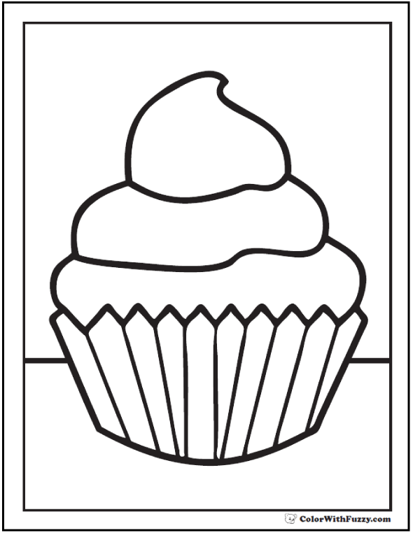 graphic relating to Cupcake Template Printable identify 40+ Cupcake Coloring Web pages: Customise PDF Printables