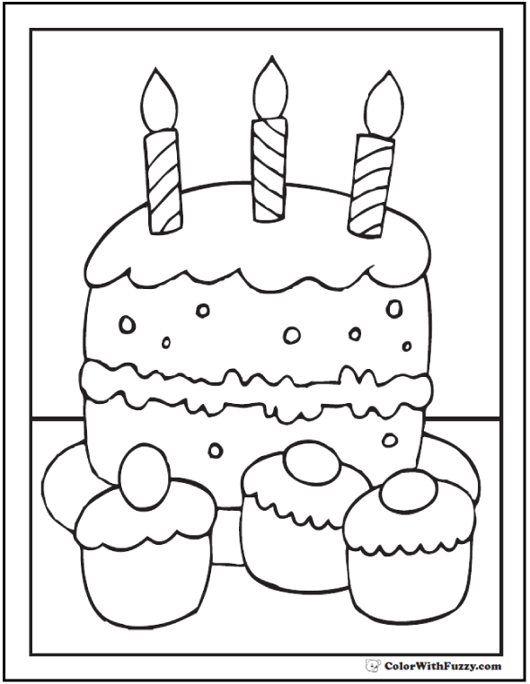 Cupcakes and Cake Coloring PDF