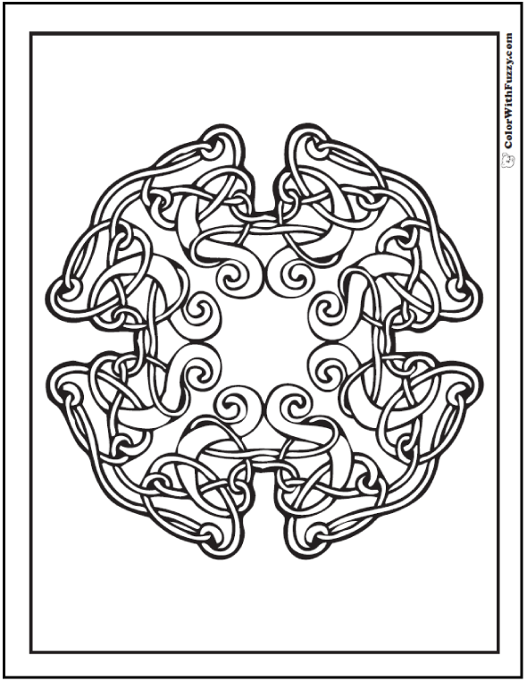 ColorWithFuzzy.com has Celtic Coloring Pages with shadows and curls swirling in a tangled knot. 87+ #CelticColoringPages and #KidsColoringPages