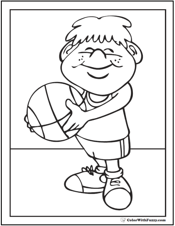 Cute Neighborhood Basketball Coloring Picture