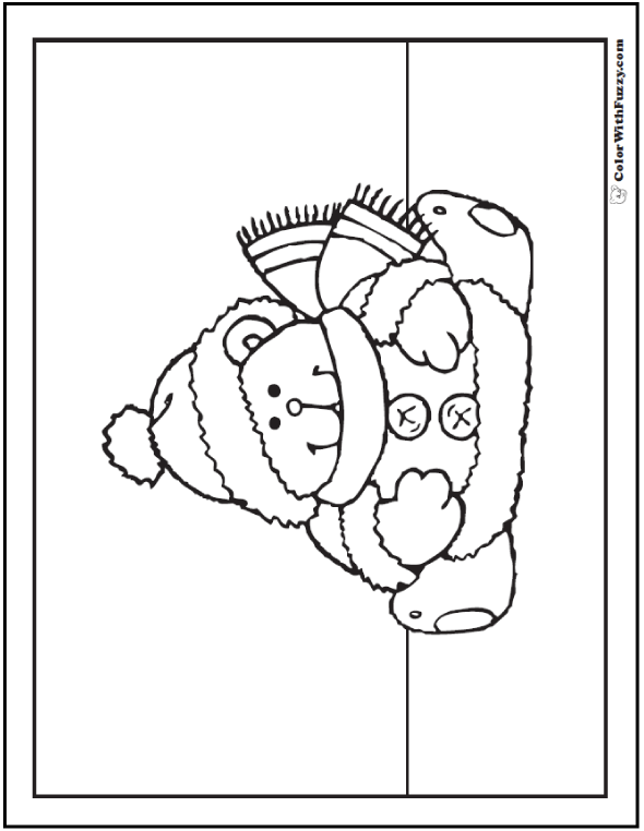 Cute Bear Coloring Sheet with darling hat, scarf, and jingle bell buttons!