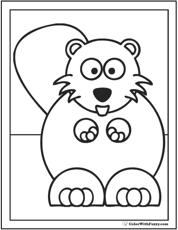 Baby beaver coloring page: Oh, my. What big teeth you have!