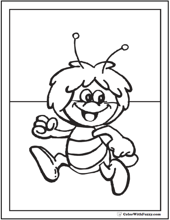 Cute Bee coloring page