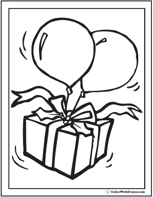 Cute Christmas birthday gift and balloons coloring pages.