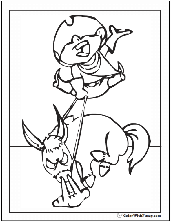 Cute Horse Coloring Page: Wild bucking bronco and cute cowboy!