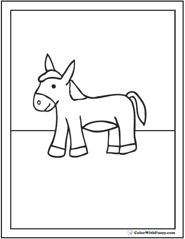 Cute donkey coloring pages.