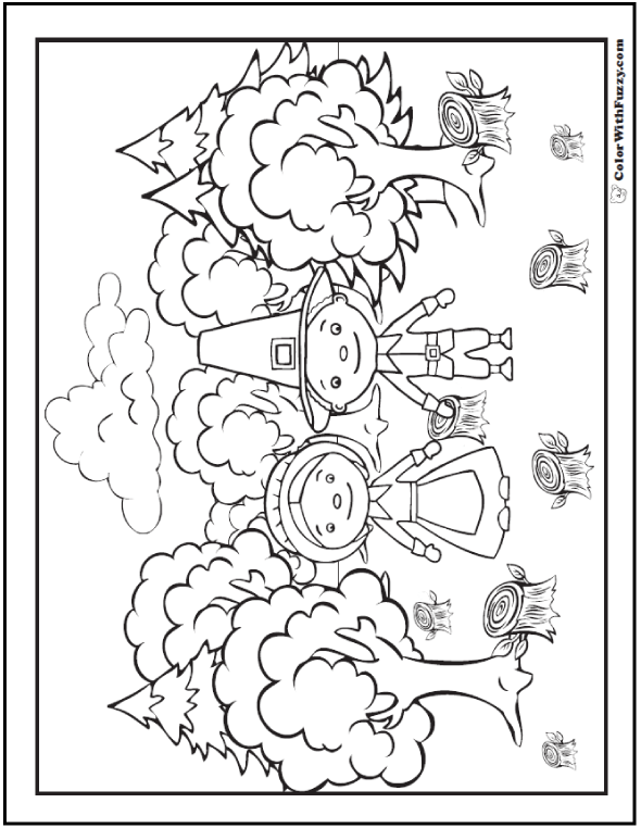 Thanksgiving coloring page: Cute Pilgrim man and wife