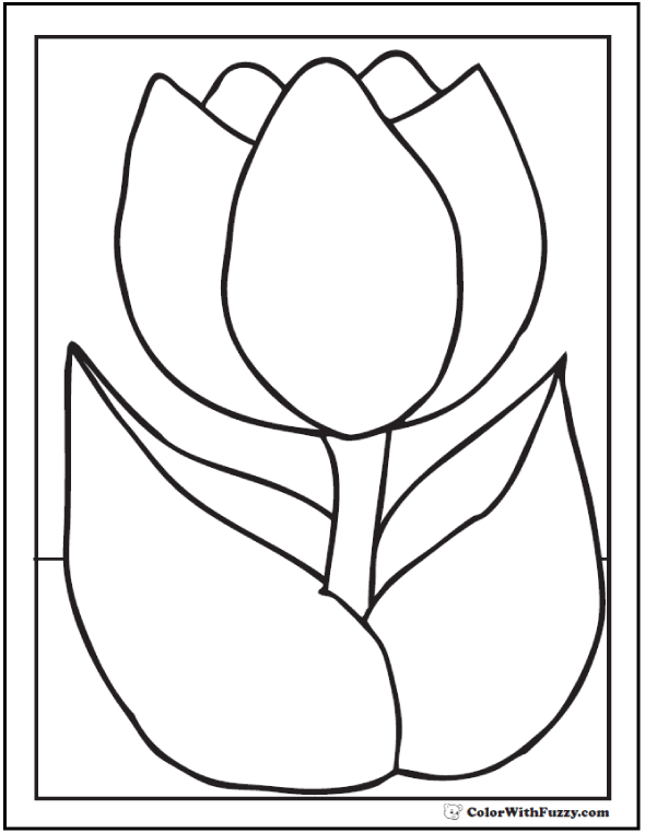 One Cute Tulip Coloring Page